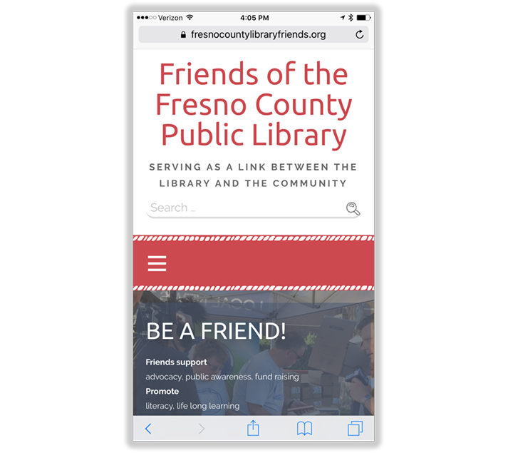 Mobile Web Design: Friends of the Fresno County Public Library