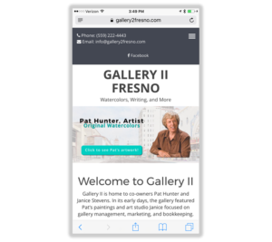 Mobile Web Design: Gallery II Fresno