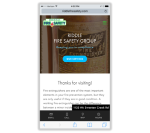 Mobile Web Design: Riddle Fire Safety Group